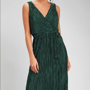 Happy Pleat Teal Green Pleated Midi Dress
